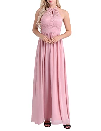 YiZYiF Womens Bridesmaid Dress Lace Halterneck Full Length Evening Party Dress Dusty Rose 4