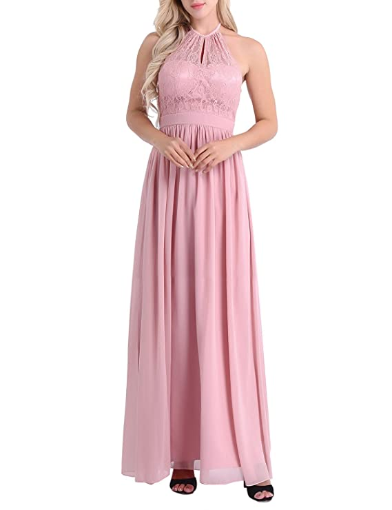 Amazon.com: YiZYiF Women High Neckline Halter Lace Evening Cocktail Party Wedding Formal Long Dress: Clothing