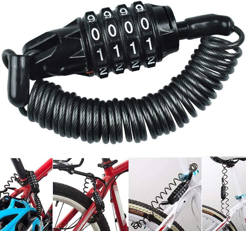 Candado de Bicicleta BESTZY Mini Candado de Bicicleta Port/átil Bloqueo de Cable de Bicicleta Antirrobo Reiniciable 4 D/ígitos para Cerraduras de Equipaje de Viaje Bloqueo de Casco