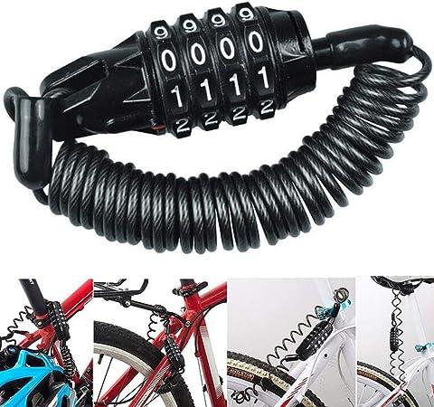 Candado de Bicicleta, BESTZY Mini Candado de Bicicleta Portátil Bloqueo de Cable de Bicicleta Antirrobo Reiniciable 4 Dígitos para Cerraduras de ...