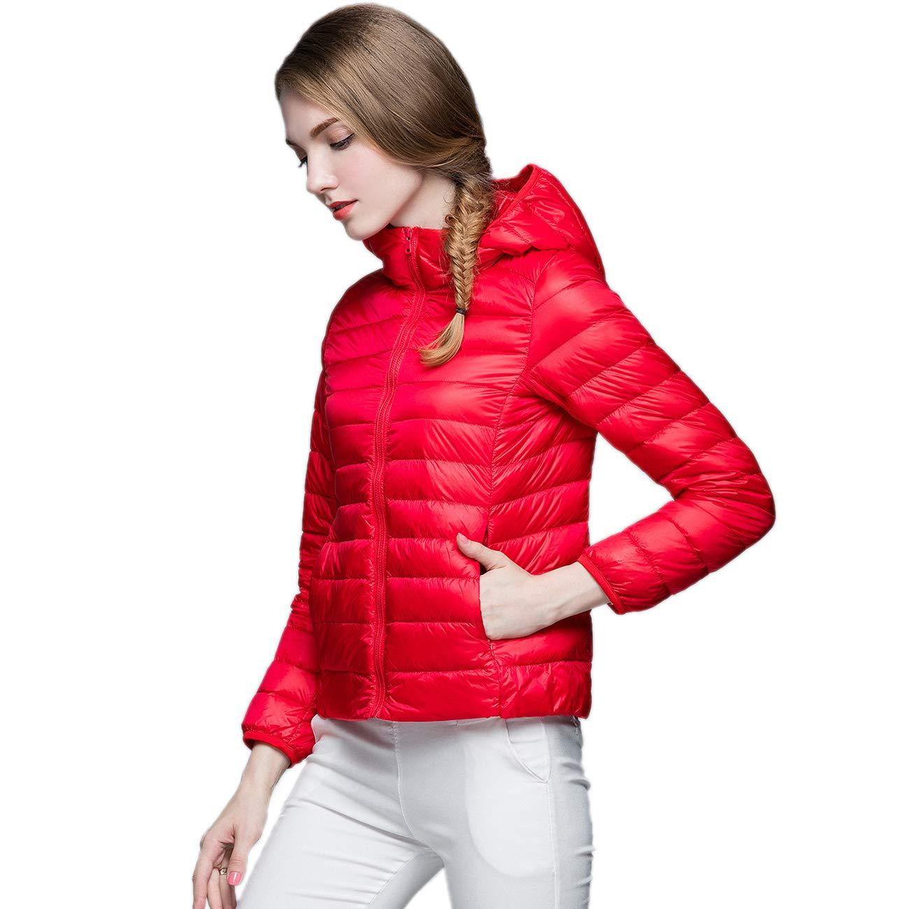 KIWI RATA Women's Hooded Packable Ultra Light Weight Short Down Jacket - Travel Bag by KIWI RATA (Image #4)