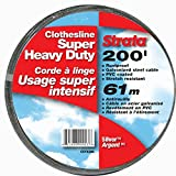 Strata 200' Silver Clothesline - Super Heavy Duty Galvanized Steel Cable, PVC Coasting