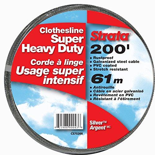 Strata 200' Silver Clothesline - Super Heavy Duty Galvanized Steel Cable, PVC Coasting