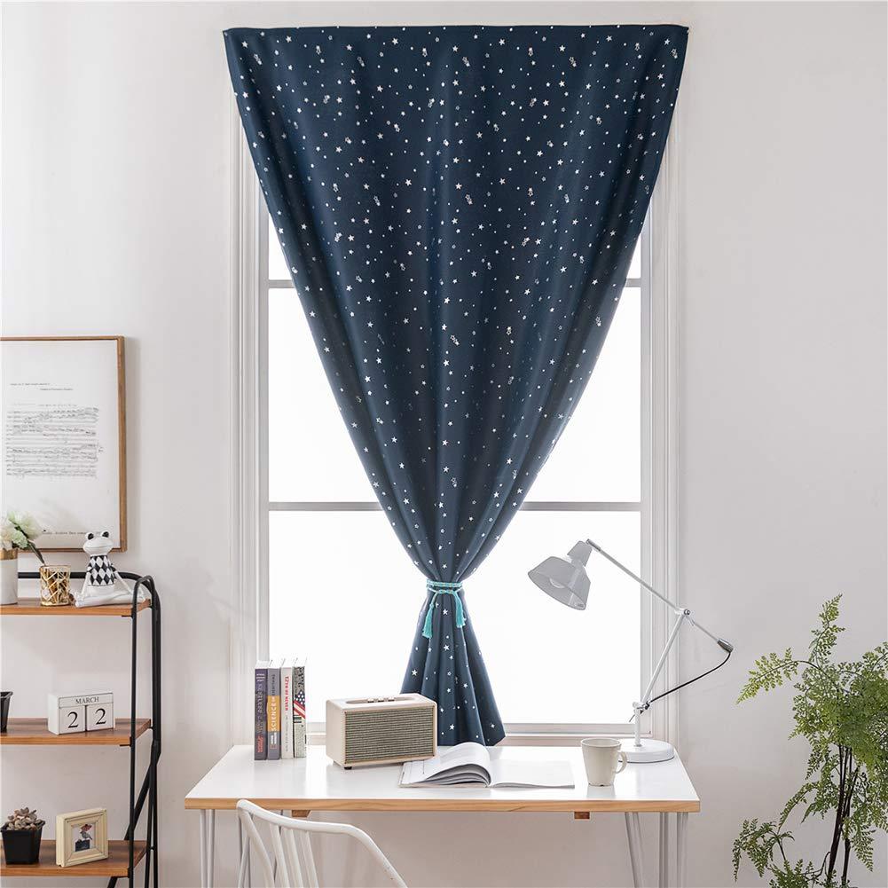 Beige, 60 x 150 cm Prosperveil Portable Blackout Blinds Stick on Stars Pattern Window Blackout Curtains for Kids Children Bedroom Nursery Baby Room with Curtain Tie Back