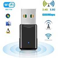 WiFi USB Adapter, 600 Mbps WLAN Stick, Dualband 2.4G/5.8G, Mini Wireless Empfänger, Unterstützt Windows 2000/XP/Vista/7/8/10, Mac OS X10.4-10.11 von HANPURE