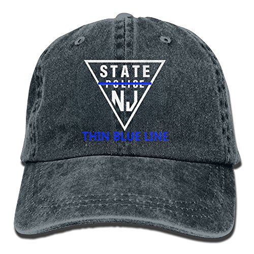 - New Jersey State Police Thin Blue Line Denim Hat Men Funny Baseball Hats