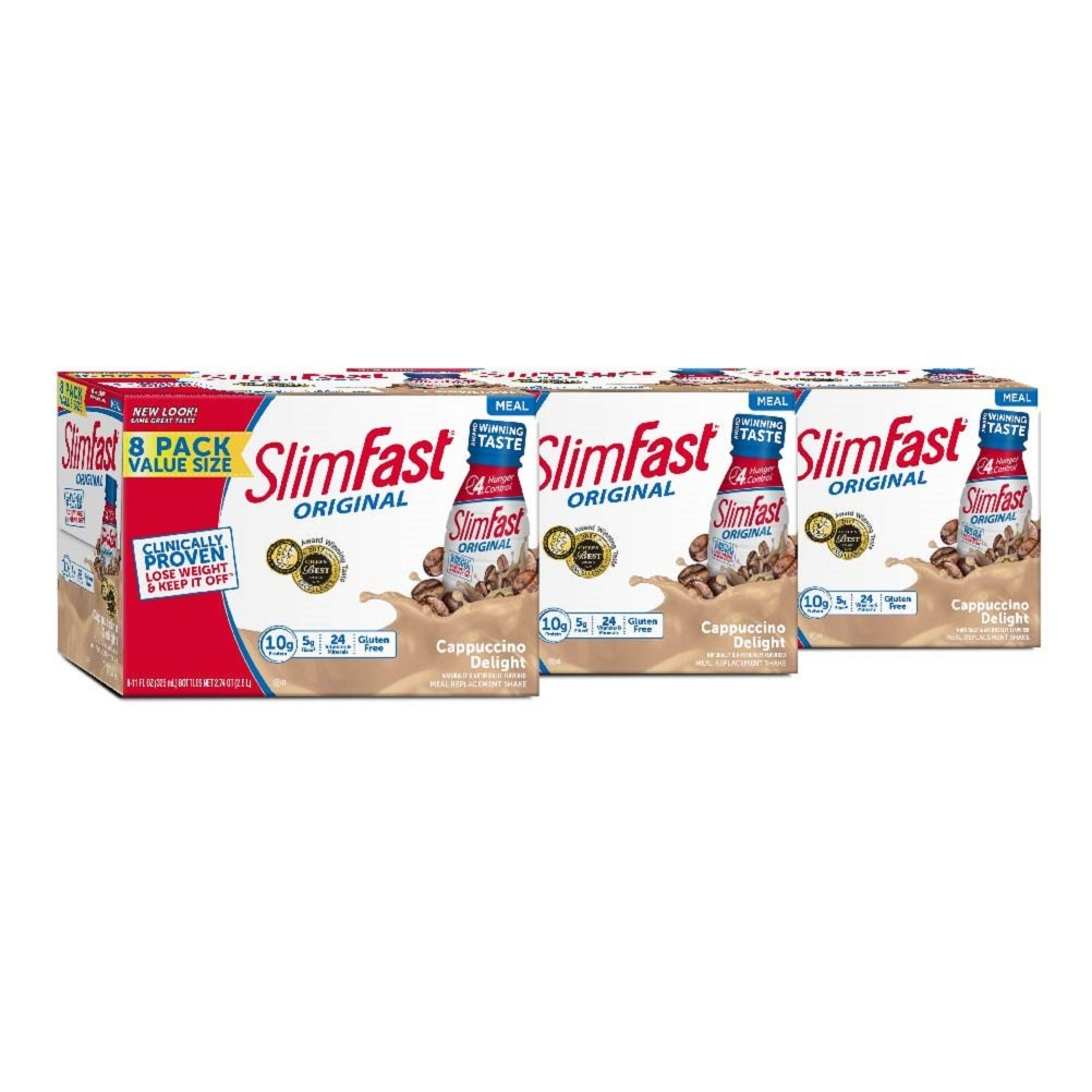 SlimFast Original Cappuccino Delight Shake - Ready to Drink Weight Loss Meal Replacement - 10g of protein - 11 fl. oz. Bottle - 8 Count (Pack Of 3)