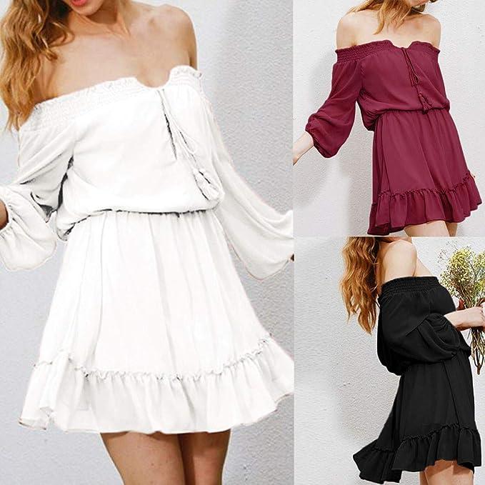 ... Herren Vestido de Camiseta, Manga Larga Fuera del Hombro Vestido Casual Suave Mujeres de Gasa Floral Casual Vestido Mini: Amazon.es: Ropa y accesorios