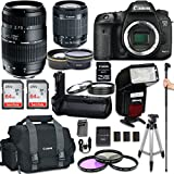 Canon EOS 7D Mark II DSLR Camera with Canon EF-S 18-55mm f/3.5-5.6 IS STM Lens + Tamron 70-300mm f/4-5.6 + Automatic Flash With LED Video Light + Battery Grip + W-E1 Wi-Fi Adapter