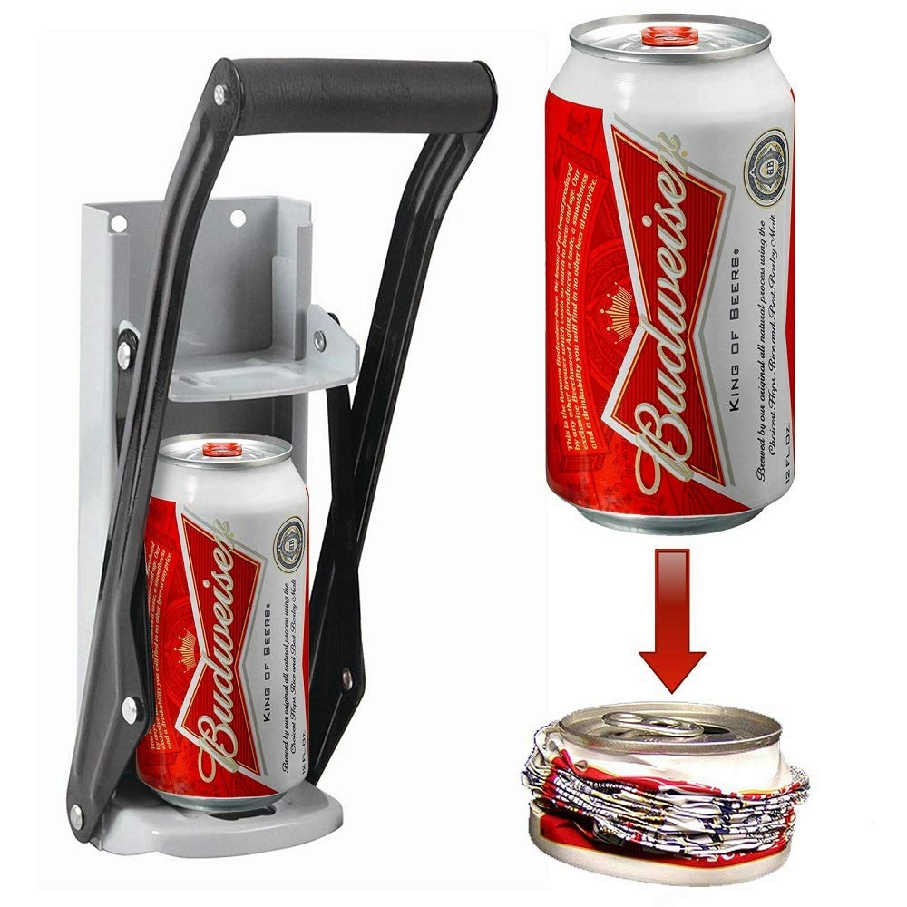 Beer Tin Can Crusher, Wall Mounted Hand Push Soda Cans Bottle Opener, Iron Bottle Crushing Recycling Tool with Grip Handle by Carejoy