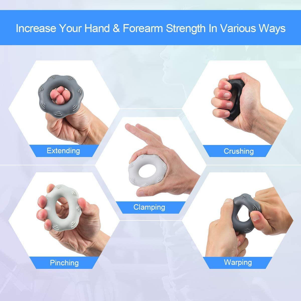 Details about  /Portable Wrist Strength Trainer Hand Grip Ring Fitness Equipment Silicone Muscle