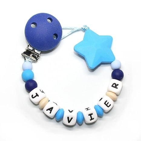 Sujeta chupetes modedor personalizado silicona Estrella Azul, para bebe con nombre, Antibaceriano Mil Cestas
