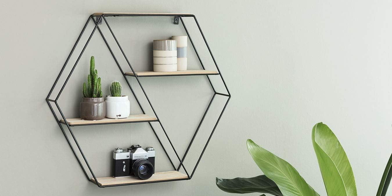 Lifa Living Hexagon Wandregal Aus Metall Und Holz Mit 4 Boden