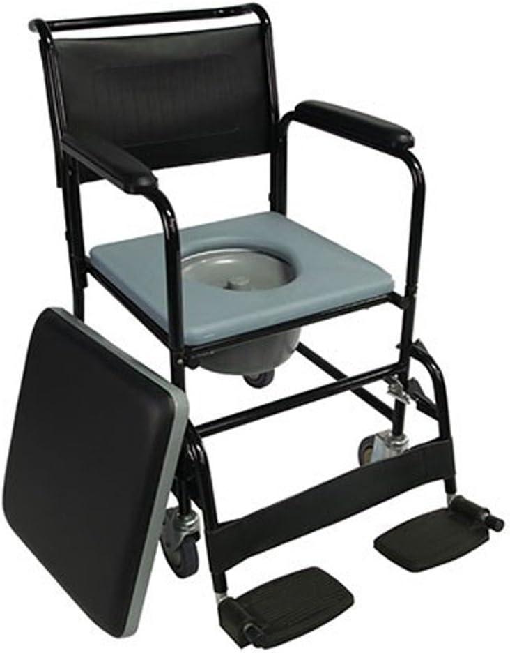 Mobiclinic, Barco, Silla con WC o inodoro para ancianos, discapacitados, minusválidos, Silla orinal con ruedas, Plegable, Reposabrazos, Asiento ergonómico, Conteras antideslizates, color Negro