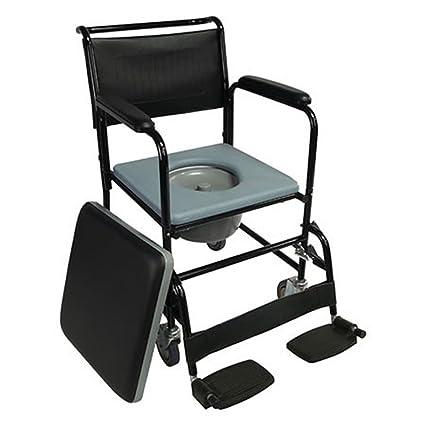 Mobiclinic Silla con WC/Inodoro con Ruedas y Tapa | Reposapiés abatibles y reposabrazos extraibles