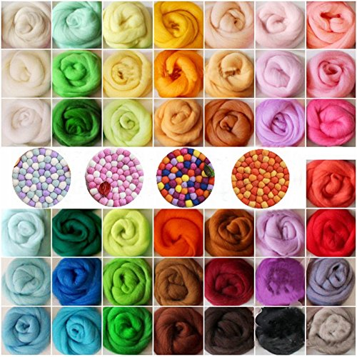 IzHotta 36 Color Wool Roving Felting Sewing Trimming Fibre for DIY Fun Doll Needlework