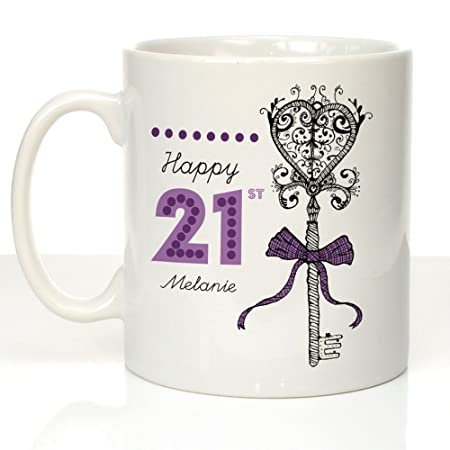 Personalised 21st Birthday Mug Girls Cup Key Keepsake