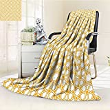 AmaPark Digital Printing Blanket Sacred Geometry with Islamic Effects Earth Yellow Summer Quilt Comforter