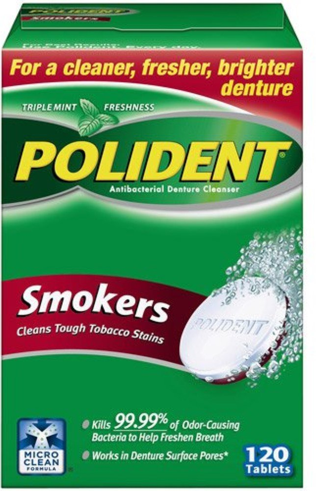 Polident Smokers Denture Cleanser 120 ea (Pack of 5) by Polident