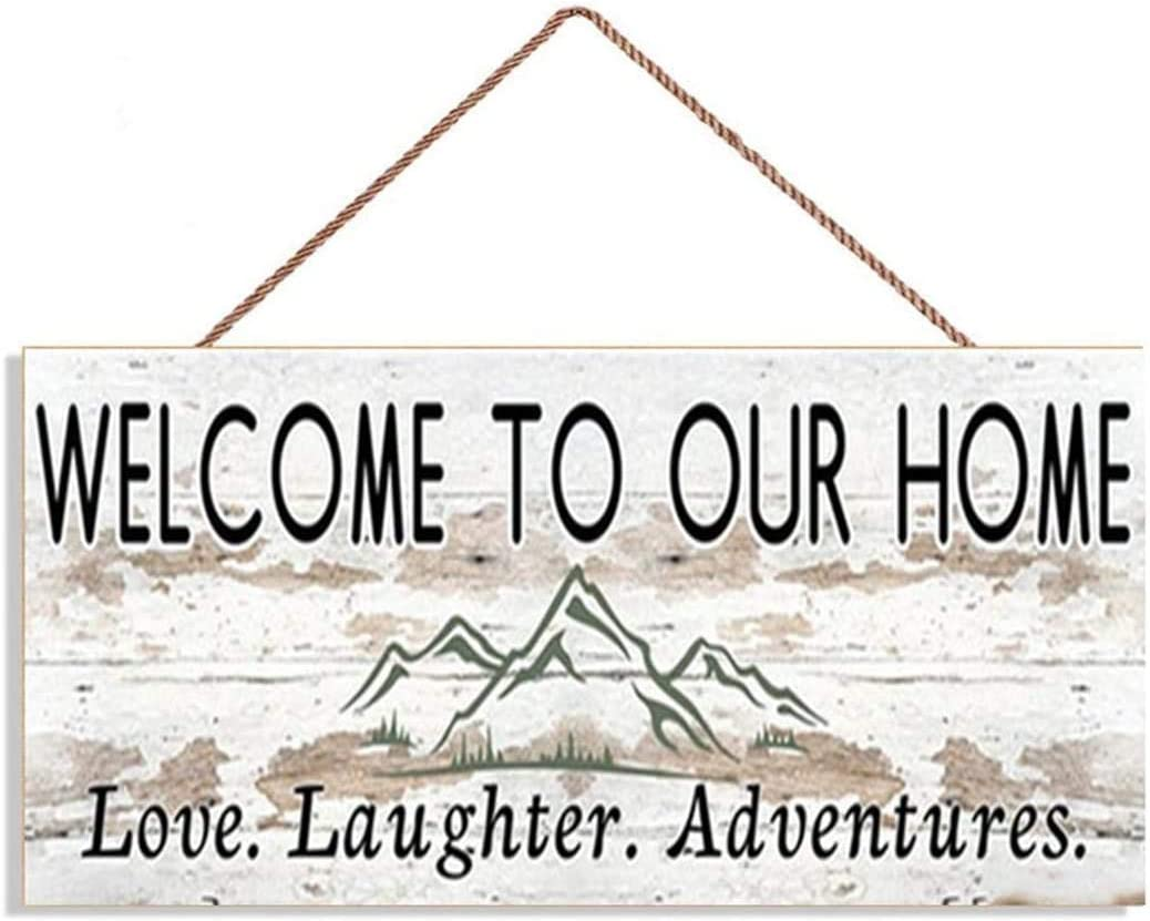 MAIYUAN Welcome to Our Home Sign, Love Laughter Adventures, Distressed Style, Housewarming Gift, Rustic 10x5 Sign, Home Gift,(UG1205)