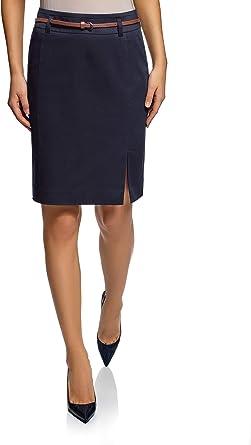 oodji Collection Mujer Falda Recta con Cinturón: Amazon.es: Ropa ...