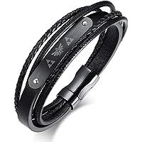 Vnox Acier Inoxydable Véritables Hommes Lengend du Bracelet en Cuir Tressé-Boucle Magnétique Zelda Triforce Bracelet Noir