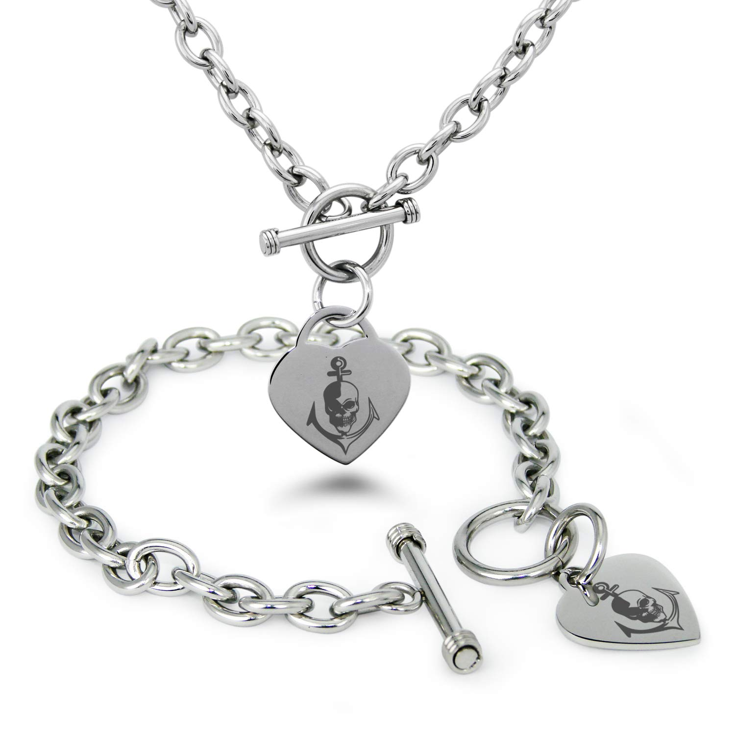 Tioneer Stainless Steel Nautical Anchor /& Skull Heart Charm Bracelet /& Necklace