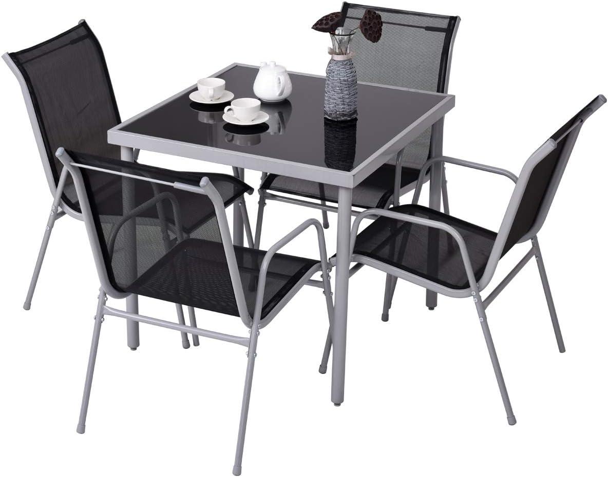 COSTWAY Mueble de Jardín Juego de Mesa y 4 Sillas Estructura de Metal Mesa con Tablero de Vidrio Templado para Patio Balcón Terraza