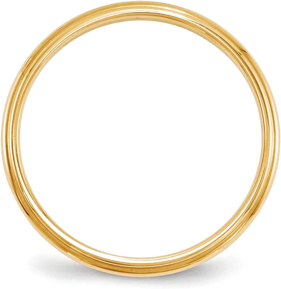 Jewel Tie 14k Yellow Gold 2.5mm Half Round with Edge Wedding Band