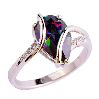 YAZILIND Engagement Heart Ring Colorful Crystal Bridal Anniversary Women Jewelry z5Fi3q