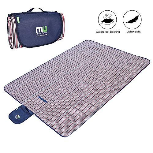 MIUCOLOR Large Waterproof Outdoor Blanket, Sandproof and Waterproof Picnic Blanket Tote for Camping Hiking Grass Travelling Dual - Miu 2015 Miu