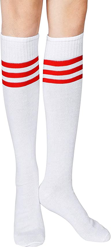 SATINIOR Calcetines hasta Rodilla con Tres Rayas de Mujer Calcetines Blancos de Algodón Calcetines de Animadora Deportiva: Amazon.es: Ropa y accesorios