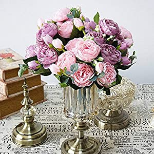 Lotus leaf fragrance 2019 Beautiful Rose Peony Artificial Silk Flowers Small Bouquet Flores Home Party Spring Wedding Decoration Fake Flower,6 3