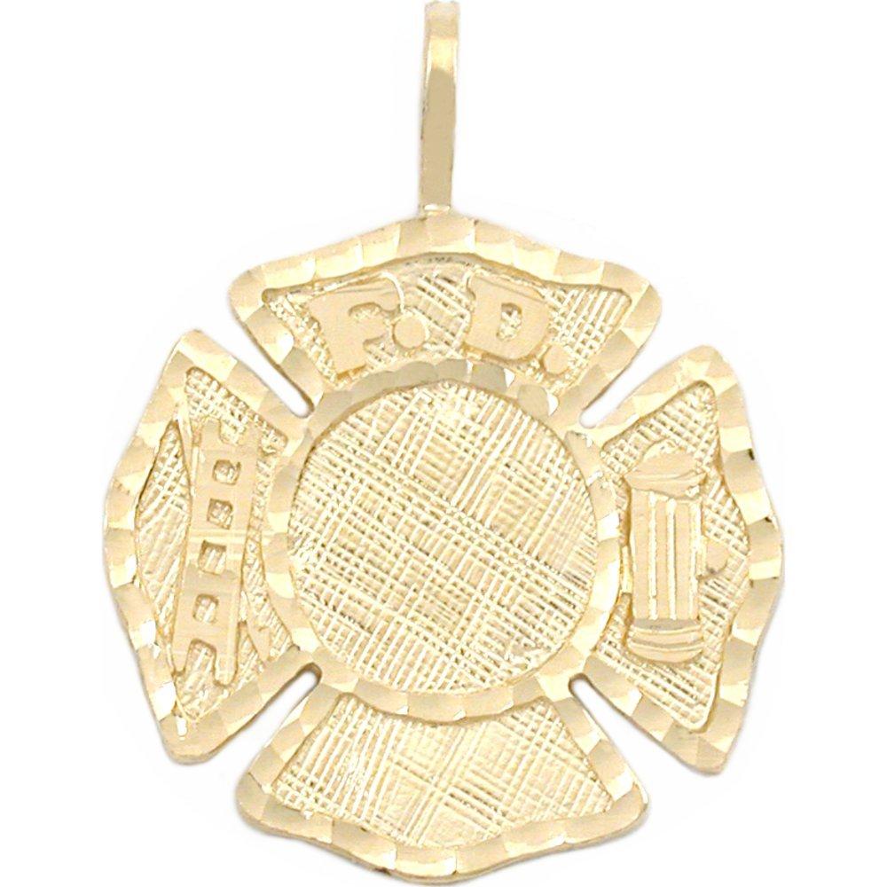 14K Gold Firefighter Maltese Cross Charm Fireman 23mm