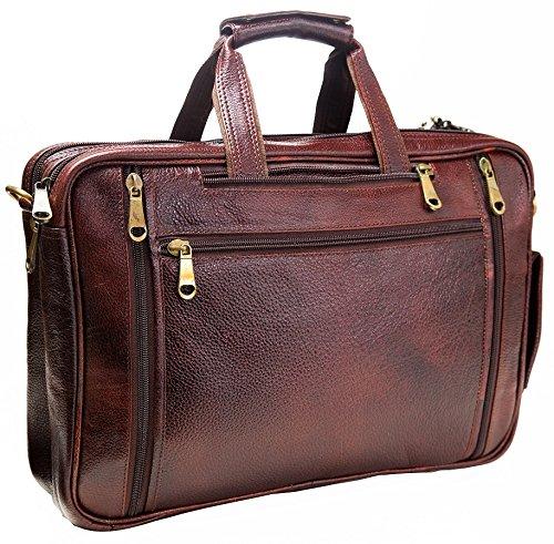 Urban Leather 16 Inch 3-in-1 Full Grain Handmade Dark Tan Bagpack-Handbag-Sling Laptop Ipad Leather Bag by Urban Leather (Image #2)