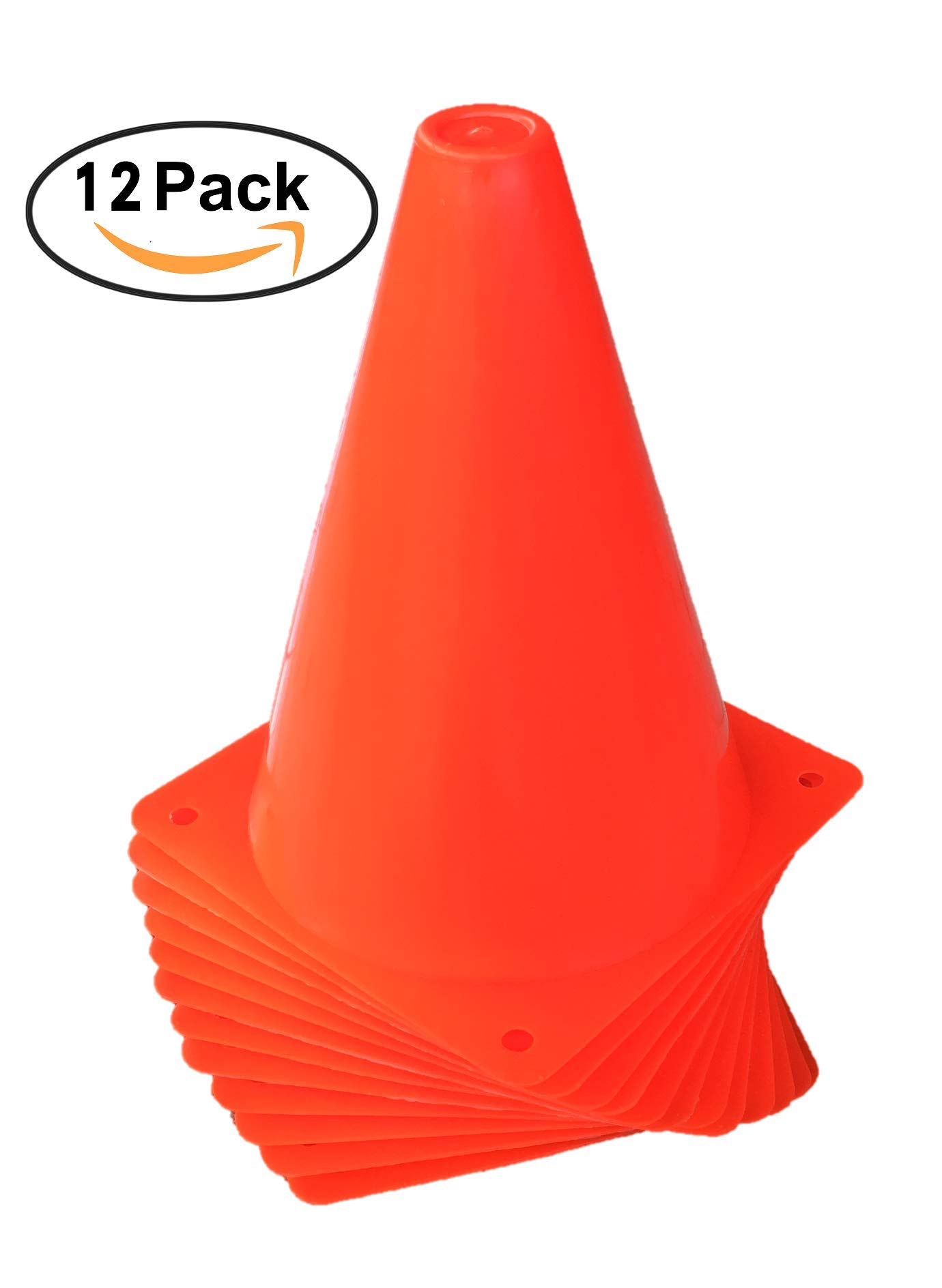 WOWGEEK 7.5 Inch Plastic Sport Training Traffic Cone 12 Orange Traffic Safety Cones Sign Sport Soccer Football Training Cone Small 7'' (Set of 12) Sports Outdoor Indoor Marker Activity Agility 7 Inch