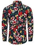Camisas de flores ornamentada para hombre, de manga larga, con botones casuales