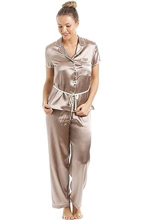 b262d6622a89d8 Camille - Damen Pyjama aus Satin - kurzärmelig - mit Gürtel - Taupe/Beige