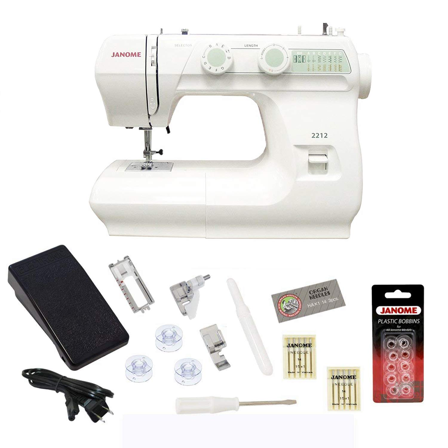 Amazon.com: Janome 2212 Sewing Machine Includes Exclusive Bonus Bundle:  Arts, Crafts & Sewing