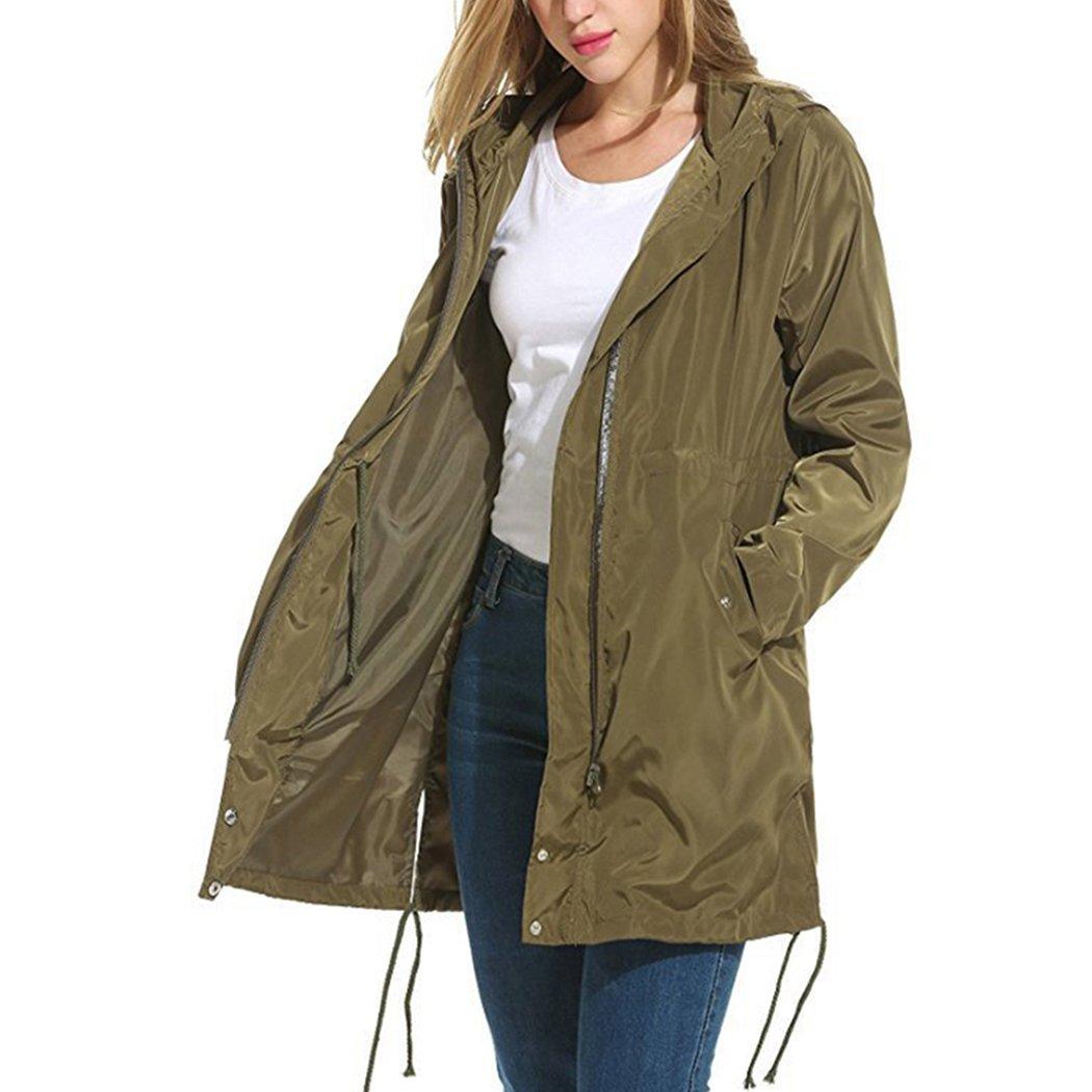 Raylans Womens Waterproof Raincoat Hooded Lightweight Windproof Hiking Coat