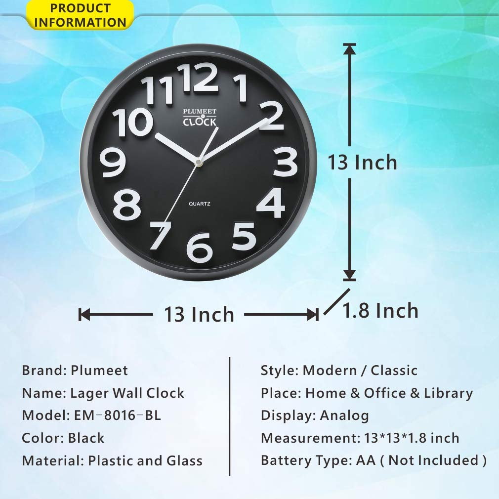 13 Silent Non-Ticking Quartz Decorative Wall Clock EleMall EM-8016-BL Black 13 Silent Non-Ticking Quartz Decorative Wall Clock Plumeet Large Number Wall Clock Modern Style Good for Living Room /& Home /& Office Battery Operated