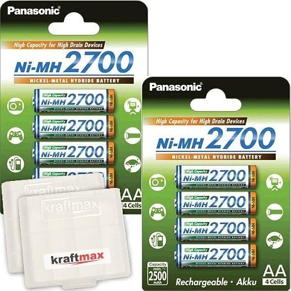 Panasonic BK-3HGAE - Lote de 8 pilas AA de alta capacidad 2700: Amazon.es: Electrónica
