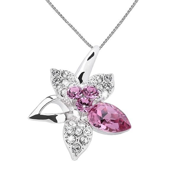 OLYSHE Necklace Pendant for Women for Women Swarovski Jewelry Flower Anniversary Birthday Gift (Flower Pink)