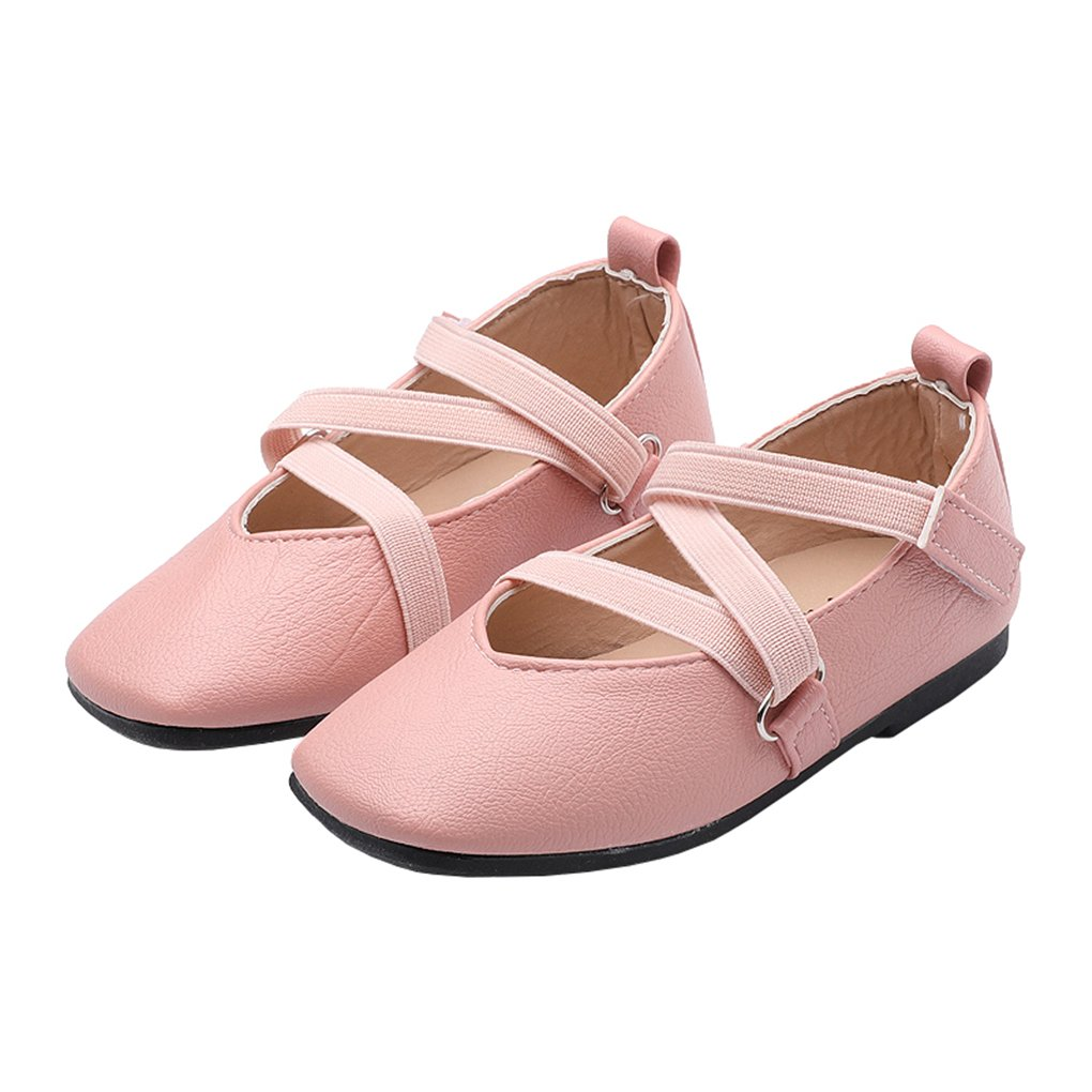 Toddler Flower Girls Cross Straps Princess Mary Jane Ballerina Flats Dress Shoes Pink Size 28