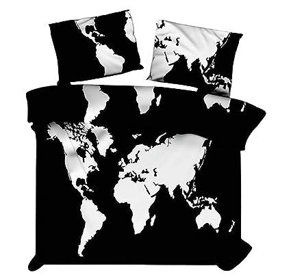 Marusthali Carte du Monde en Noir et Blanc Housse de Couette ...