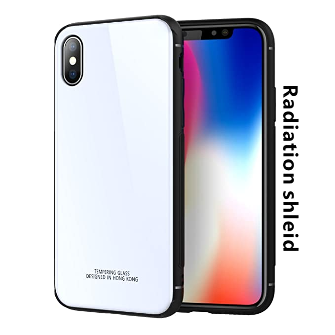 cheap for discount 11497 cb5d8 TAGCMC for iPhone X case, Thin Tempered Glass Back Cover and Soft Silicone  Rubber Full Body Protection Cover with(EMF)Anti-Radiation Protection & ...