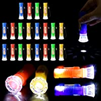 PROLOSO Mini Toy Flashlights with Lanyard LED Pocket Flashlight Toy Set Kids Party Favors 20 Pcs