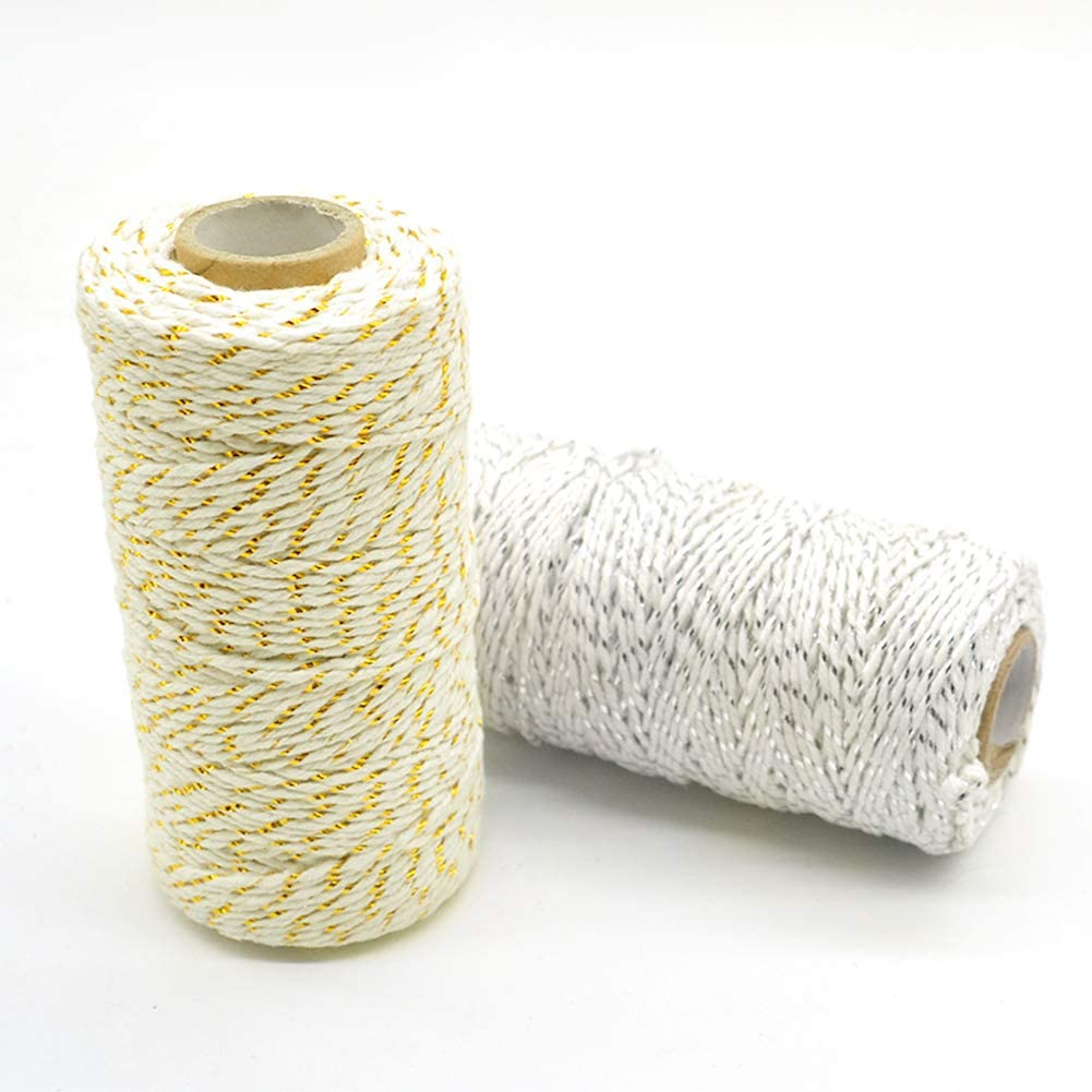 2 Rolls 656 feet/200m Craft Twine,Gift Wrapping Twine Craft Cotton Twine Bakers Twine with Gold Wire,Twine String Perfect for Baking Butchers DIY Arts Crafts Package Decoration