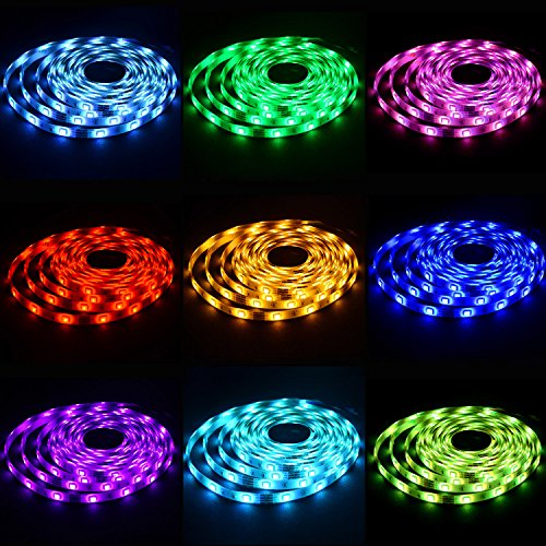 Led Strip Lighting Waterproof 5M 16.4 Ft 5050 RGB 150LEDs Flexible Color Changing Full Kit with 44 Keys RF Remote Controller, Control Box,12V 2A Power Supply by LEN (Image #3)