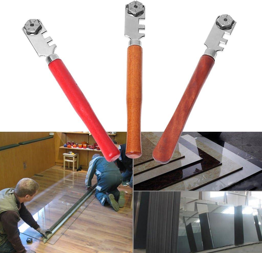 Holzgriff 1 Tragbare 6 R/äder Glasfliesenschneider zum Schneiden und Basteln